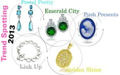 What are the #jewelry #trends to look for in #2013? How about:  #Pastel colors, #emerald everything, push presents for the mama-to-be, big #link bracelets and necklaces and the return of antique #gold!