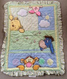 Disney BABY Winnie the Pooh Peek A Boo Baby Blanket Quilt With Ruffle 37 x 46 #Disney