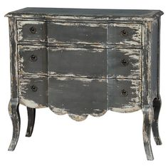Showcasing cabriole legs and a distressed grey finish, this breakfront 3-drawer chest brings sophisticated appeal to your home library or master suite.
