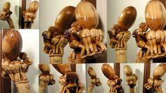 Différents aspects de la Melée de Rugby sculptée en Pommeau de ce Bâton monoxyle en Abricotier...Sculpture Pierre Damiean. Voir le Site: www.pierdam.fr