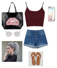 """""""Untitled #79"""" by evewalts16 ❤ liked on Polyvore featuring Free People, Topshop, American Eagle Outfitters, RED Valentino, Kosha, Summer, shorts, bag and Tank"""