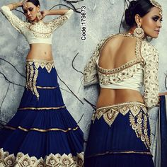 This #Bright #Blue lehenga is a sure shot way to make you stand out in any festive celebration!#Lehenga #NavyBlue #Golden #White #Embroidery #LehengaCholi #Shimmer #Saree #Designer #DesignerBlouse #Occasion #IndianDresses #Partywears #Indian #Women #Bridalwear