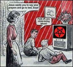 Is the semiotics right? Funny Horror, Horror Art, Vintage Humor, Vintage Comics, Laveyan Satanism, Dark Humor Jokes, Satanic Art, Demon Art, Occult Art