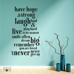 Have Hope Wall Words Decal Quote Vinyl Sticker Art | eBay