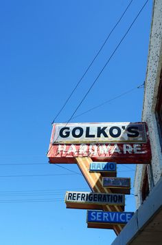 """joelzimmer:  Golkos Hardware  Gimli, Manitoba, Canada  Find me a cool looking sign and I will photograph it.  """