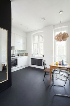 Black marmoleum floor