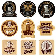 Vintage beer bottle labels vector image on VectorStock Brewery Logos, Beer Brewery, Beer Bar, Drink Labels, Bottle Labels, Beer Bottle, Beer Labels, Anuncio Perfume, Bottle Top Crafts