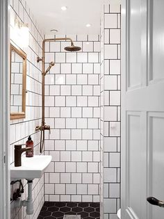 for a small guest bath: white square tiles, black grout, brass details Bad Inspiration, Bathroom Inspiration, Bathroom Ideas, Bathroom Designs, Bathroom Remodeling, Remodeling Ideas, Bathroom Trends, Bathroom Colors, White Square Tiles