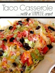 Recipe Submitted By:  CentsLess Deals Click on the link below for the Taco Casserole with a Surprise Crust recipe!   Taco Casserole with Surprise Crust