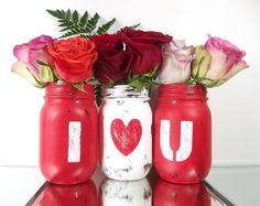 I LOVE YOU, set of 3, Hand Painted Mason Jars | Rustic, Home Decor - Red and White, Pint Mason Jars by curiouscarrie on Etsy https://www.etsy.com/listing/220815416/i-love-you-set-of-3-hand-painted-mason