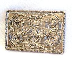 Sterling Silver Belt Buckle Engraved Flowers by MomNDadsJewelry, $250.00