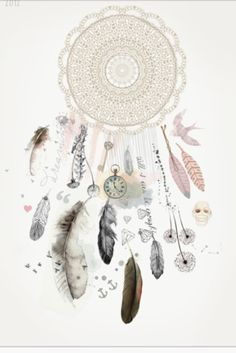 Dreamcatcher-I like the idea of adding things within the dream catcher. Draw this up