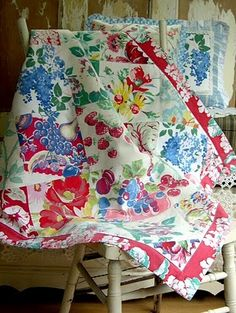 vintage tablecloth lap quilt.  Perfect use for tablecloths with holes or stains, just cut out the good pieces.