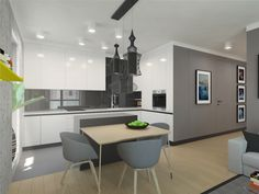 Kitchen design.  Apartment 64m2 . Warsaw, Poland.  www.artandarchitecture.pl