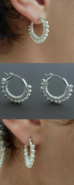 Wire Wrap Silver Hoop Earrings, Medium Hoop Earrings, Women Jewelry, Delicate Earrings, Wife Gift, Gift For Her http://etsy.me/2niQDNC #jewelry #earrings #silver #women #hoopearrings #silverhoopearrings #womenjewelry #delicateearrings #wifegift
