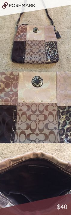 Like new! Authentic Coach crossbody purse Great condition, used very little. Clean outside and inside. Tans and gold colors. Non smoking home, pet free, no holes or damage Coach Bags Crossbody Bags