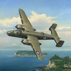 """Published from the William Phillips original painting """"""""Evasive Action over Sagami Bay"""""""".The canvas is handsigned on the front by some of the surviving Doolittle Raiders!Canvas size: 30""""""""w x 34""""""""hEdit"""