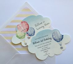 Hot air balloon cloud shaped invitations. Birthday, baby shower, baptism, going away. Watercolour
