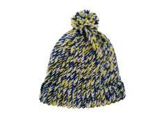 Beanie hat, handknit, white, blue, yellow, item WOO4