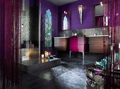 meble łazienkowe, kolor,róż, mozaika, fioletowy, kabina