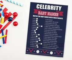 Baseball baby shower game celebrity baby by LaminitasPrintables