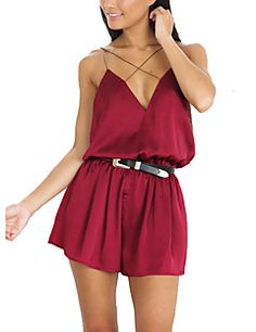 Women Slim RompersCasual/Daily Club Sexy Simple Solid Backless Criss-Cross Silk Fabrics Strap Sleeveless High Rise Micro-elastic Summer Fall