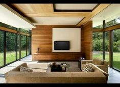 Check out this really cool modern dream home by SBCH Architects. The house is constructed with glass, steel, stone and timber with sophisticated interior design. Wooden Ceiling Design, False Ceiling Design, Dream Home Gym, Dream Home Design, Glass House Design, Plafond Design, Home Design Floor Plans, H & M Home, Contemporary Interior Design