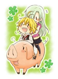 The Seven Deadly Sins Elizabeth, Meliodas et Hawk Fanart Manga, Manga Anime, Anime Nerd, Seven Deadly Sins Anime, 7 Deadly Sins, Me Me Me Anime, Anime Love, Meliodas And Elizabeth, Anime Couples