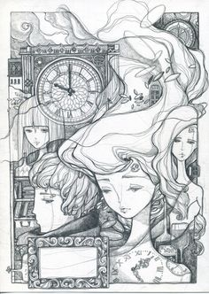NOTHUMBRIA by tamypu Don't know the astro symbol story here and not a great fan of this style, but really like the pencil work. Lovely, lyrical and grounded. Sketch Design, Artist Art, Art Techniques, Drawing Reference, Lovers Art, Unique Art, Art Sketches, Line Art, Fantasy Art