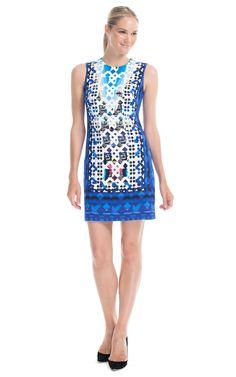 Shop Peter Pilotto Lace Blue Stamp Dress at Moda Operandi
