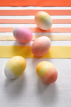 SUNNY GRADIENT – This egg dye DIY requires a little mixology. If you're going for progressively darker shades of the same color, you'll need to concoct three or four food dye mixtures with increasing color concentrations — but a little work seriously pays off. Click through for the entire gallery and for more ideas on dying easter eggs.
