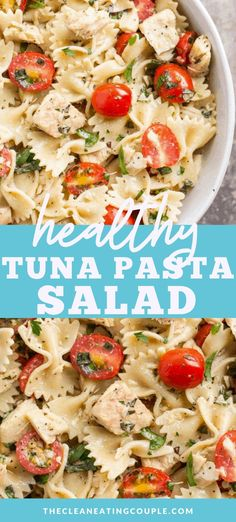 Healthy Tuna Pasta Salad is a delicious, lighter lunch! Made with only 10 ingredients, high in protein, and low in fat - its the perfect easy meal! Theres no mayo in this recipe - you dont need it! Great for a light clean eating dinner! Healthy Pasta Recipes, Healthy Pastas, Pasta Salad Recipes, Seafood Recipes, Tuna Recipes, Fodmap Recipes, Chili Recipes, Healthy Chicken, Healthy Foods