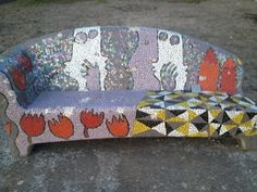 Netwerken tussen 2 personen op een mozaieken bank