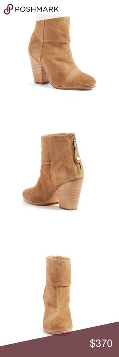 """Rag & Bone Classic Newbury Suede Ankle Boot Classic Newbury Suede Ankle Boot, Camel Retails: $495 + $42 tax  Size: 7.5 / 37.5 SOLD OUT in this size  Italian calf suede heeled ankle boot Style: W265F1002E 3 1/2'' heel 4 1/2'' shaft Upper made from paneled Italian calf suede Leather sole Rounded, tapered toes Metal zipper closure at back Imported   """"These are the signature Rag & Bone booties, and are so essential and so beloved that they have already achieved icon status."""" rag & bone Shoes…"""