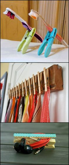 Whether you call them clothespins or clothes pegs, they aren't just for clothes! They have a number of other clever uses, too! Have heaps of clothespins you don't really use anymore? Then you will like these alternate uses we're going to show you. These ideas help to get better organized at home. Some are clever suggestions that can come in handy when you're outside the house.