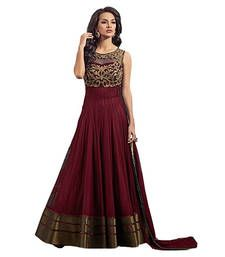 Buy Maroon net embroidered semi stitched salwar with dupatta anarkali-salwar-kameez online
