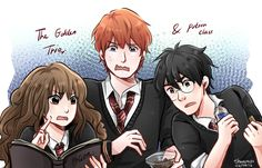 The Golden Trio + Potion class After re-watching the whole thing and reading a lot of fanfics here comes the fan art ahahahaha xD Harry Potter Anime, Harry Potter Art, Harry Potter Universal, Hogwarts Letter, Prisoner Of Azkaban, Dramione, Cursed Child, Deathly Hallows, Geek Culture