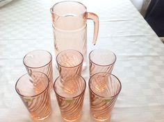 Arcoroc Rosaline Pink Swirl Pitcher & Six Glasses/Tumblers ~ Made in France