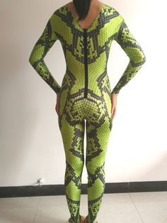 244f83d209cf green snake 3D printing jumpsuit sexy stretch elastic prom party Halloween  Bar Cosplay role costume singer