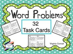 This set of 32 task cards will get your students solving real world word problems as they multiply a 3 digit number by a 1 digit number.  The task cards are in black and white for economical printing.  Just print them on colored card stock and you will still have attractive task cards.I have included a student answer sheet and an answer key for the task cards.Be sure to browse through my store to see what other things I offer that will help meet the curriculum needs of your students.Just…