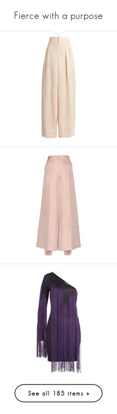 """Fierce with a purpose"" by avyanai-xviboutique ❤ liked on Polyvore featuring pants, bottoms, trousers, light pink, crepe pants, pleated wide leg pants, pink trousers, loose pants, light pink trousers and nude"
