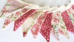 Dusky pink mini Bunting vintage style Christmas Tree | Etsy Pink Bunting, Vintage Style, Vintage Fashion, Christmas Tree Decorations, Garland, Gifts For Her, Cotton Fabric, Mini, Floral