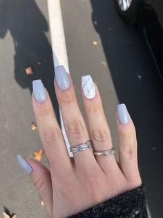 Gray nails acrylic marble nails coffin nails - Acrylic Na. - Gray nails acrylic marble nails c Marble Acrylic Nails, Coffin Nails Matte, Acrylic Nails Coffin Short, Simple Acrylic Nails, Gray Nails, Acrylic Art, Summer Acrylic Nails Designs, Pastel Nails, Acrylic Nails For Summer Glitter