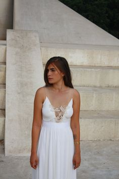 wedding dress deep  V neck  with embroidery & beads by Barzelai, $320.00