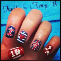 Perfect first day of school nails Mine will probably be one direction because I am going to a concert the day before school starts. Love Nails, Pretty Nails, Fun Nails, Painted Toe Nails, Acrylic Nails, One Direction Nails, School Nails, Super Cute Nails, Nail Envy
