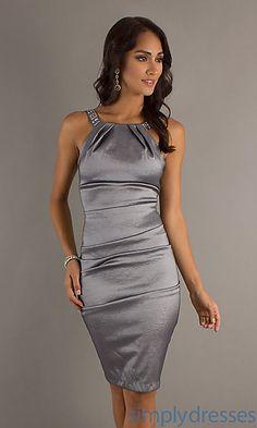 ca6a50959c9f Short Sleeveless Dress by Sally Fashion at SimplyDresses.com - plateado