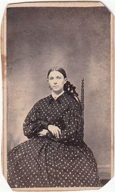 Civil War CDV Lady in Medallion Print Day Dress  - Tax Stamp 1864 -1866