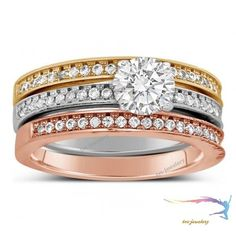 Brilliant Cut Diamond Engagement Ring & Wedding Bands In Tri Color 10k Gold Over #tvsjewelery #SolitairewithAccents #EngagementWeddingAnniversaryGiftParty