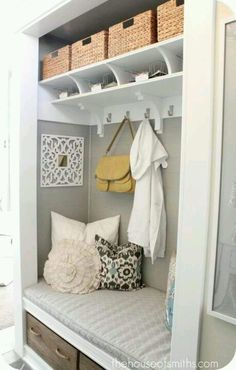 Remove closet doors and make a little sitting area! I think we may do this with the closet in the master bedroom.