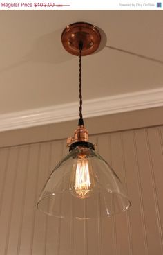SPRING SALE 20% Off Copper Pendant Light by VintageCopperWorks